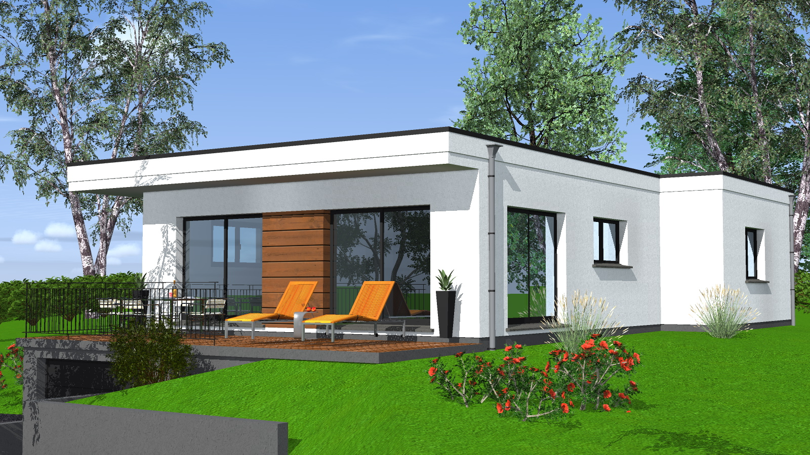 Construction maison de plain pied maisons begi for Terrasse toit plat construction