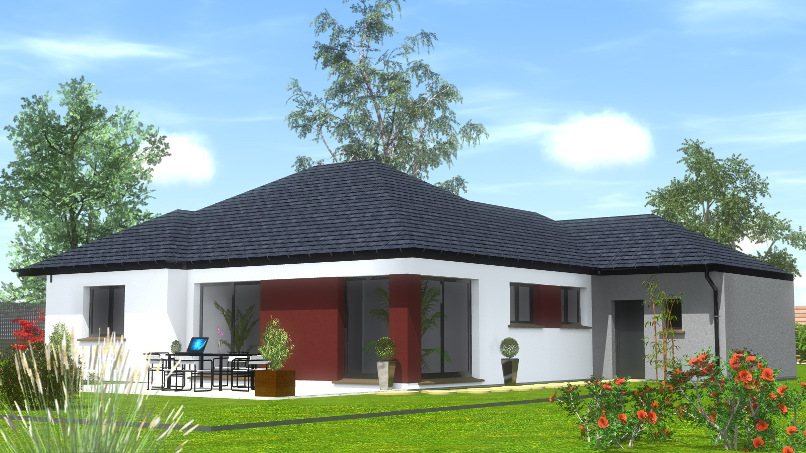 Construction maison de plain pied maisons begi - Modele de maison contemporaine plain pied ...