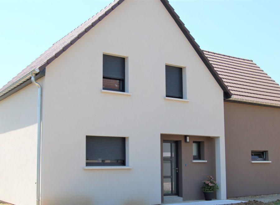 Belle maison garage accolé façade bicolore