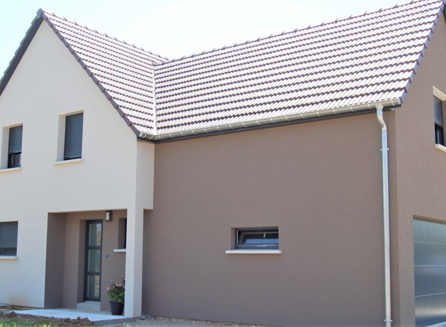 Maison garage accolé avec une façade bicolore