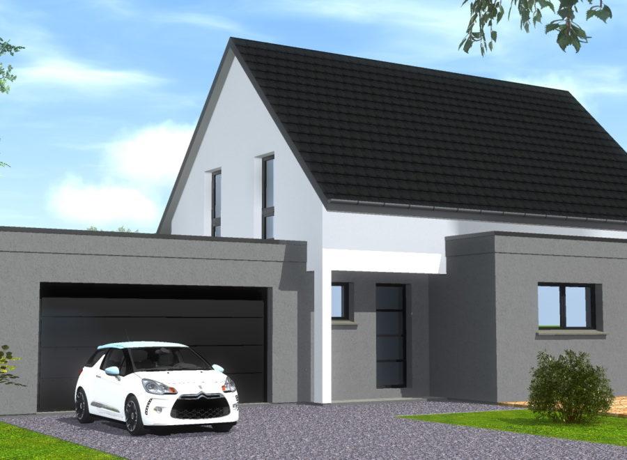 belle maison 2 pans avec garage