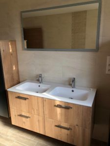 Meuble double vasque maison ossature bois Alsace