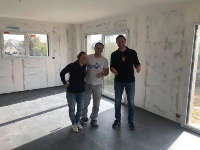Carrelage gris maison garage accolé Rantzwiller